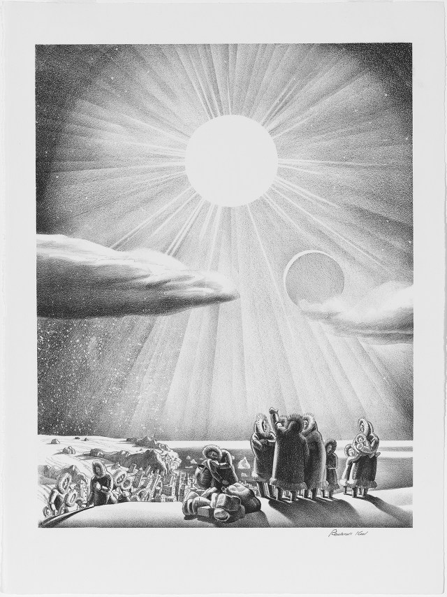 """Rockwell Kent, """"Solar Flare-Up"""" (1937), lithograph, 12 x 10 1/8 in., Mary and Leigh Block Museum of Art, Northwestern University, 1994.94.4"""