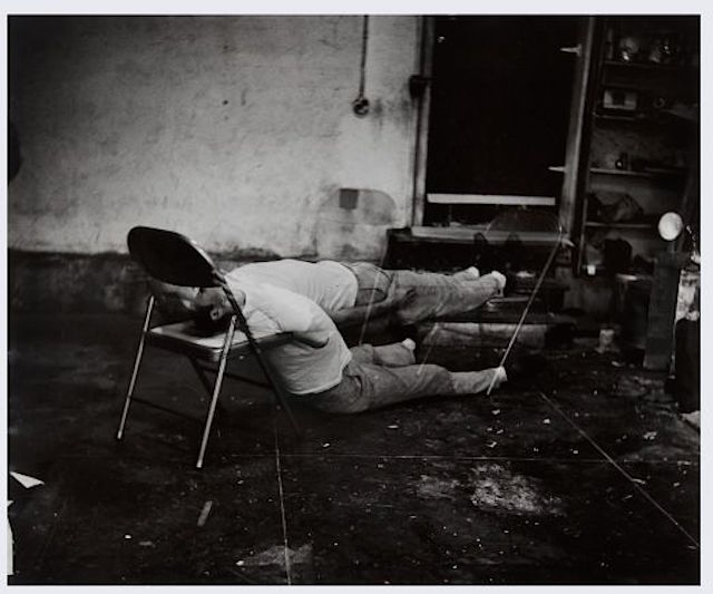 "Bruce Nauman, ""Failing to Levitate in My Studio"" (1966) (courtesy Stedelijk Museum)"