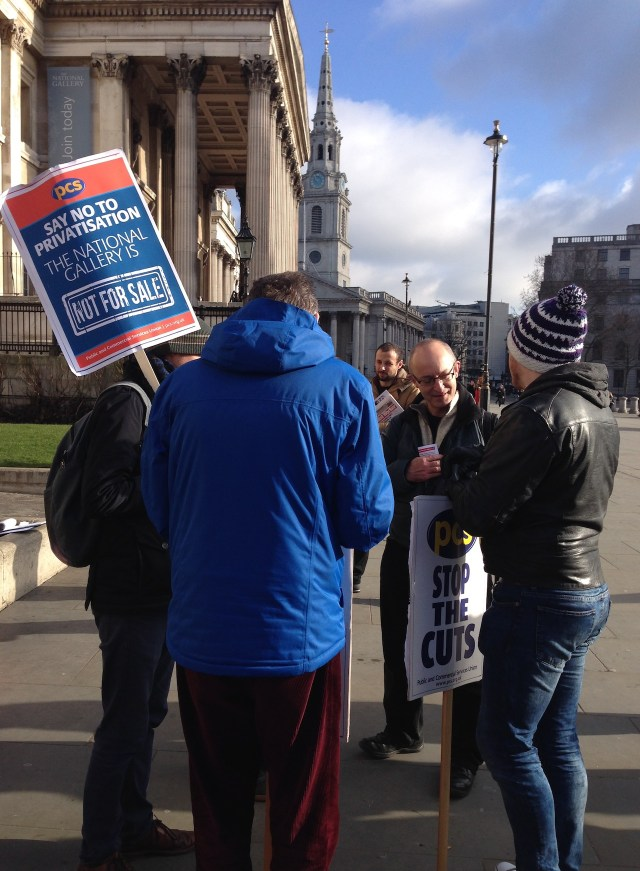 Picketers outside the National Gallery (all photos by the author for Hyperallergic)