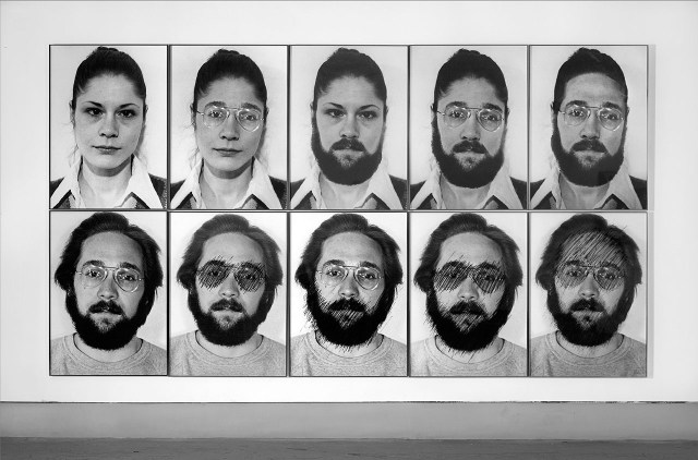 "Suzy Lake, ""Suzy Lake as Gary William Smith"" (1973–74), 10 gelatin silver prints, 94 x 67.3 cm each, collection of the artist (courtesy Georgia Scherman Projects, Toronto)"