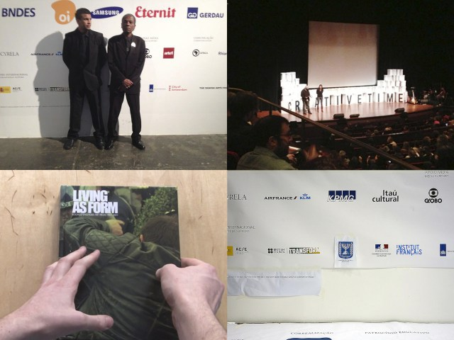 Clockwise from top left: Security guards cover the logo of the Israeli consulate in Sao Paulo on the evening of August 31, 2014 (image via Tony Chakar/Facebook); Members of Tidal Journal addressing the BDS boycott of the 2012 Creative Time Summit on stage. (photo Hrag Vartanian/Hyperallergic); 31st São Paulo Biennial sponsor board on the ground floor of the main exhibition hall, Tuesday August 19, 2014 (photo by Willis Besara); 'Living as Form: Socially Engaged Art from 1991-2011′ is the book that accompanied the Creative Time Living as Form exhibition when it showed in New York in 2011 (screenshot via Creative Time on Vimeo)