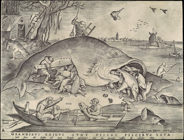 "Pieter Bruegel the Elder, ""Big Fish Eat Little Fish"" (1557) (Metropolitan Museum of Art, via Wikimedia Commons)"