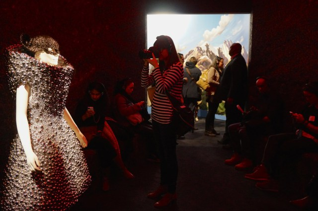 """Installation view, the """"Songlines"""" portion of Björk at MoMA (photo by Jillian Steinhauer/Hyperallergic)"""