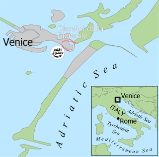 Location of ISIS's Venice Biennale barge