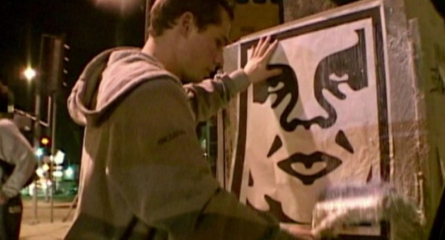 """Still from Ondi Timoner, """"Shepard Fairey: Obey the Artists"""""""