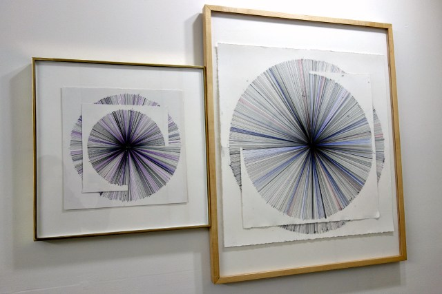 "David Melrose, ""Part 1"" and ""Part 2"" (2015), ink on paper"