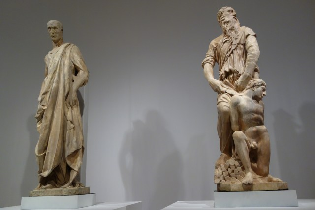 """Donatello, """"Prophet"""" (1435-36), marble; and """"Abraham and Isaac"""" (1421), marble"""