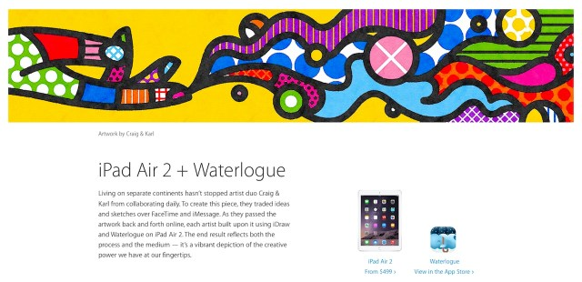 """Artwork by Craig Redman and Karl Maier for Apple's """"Start Something New"""" campaign, which Romero Britto alleges misuses his artwork. (screenshot by the author)"""