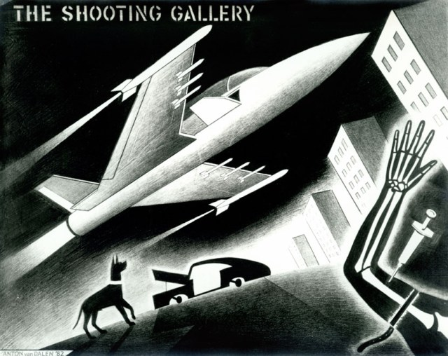 """Anton van Dalen, """"The Shooting Gallery"""" (1982), pencil drawing (23 x 29"""") (image courtesy the artist)"""