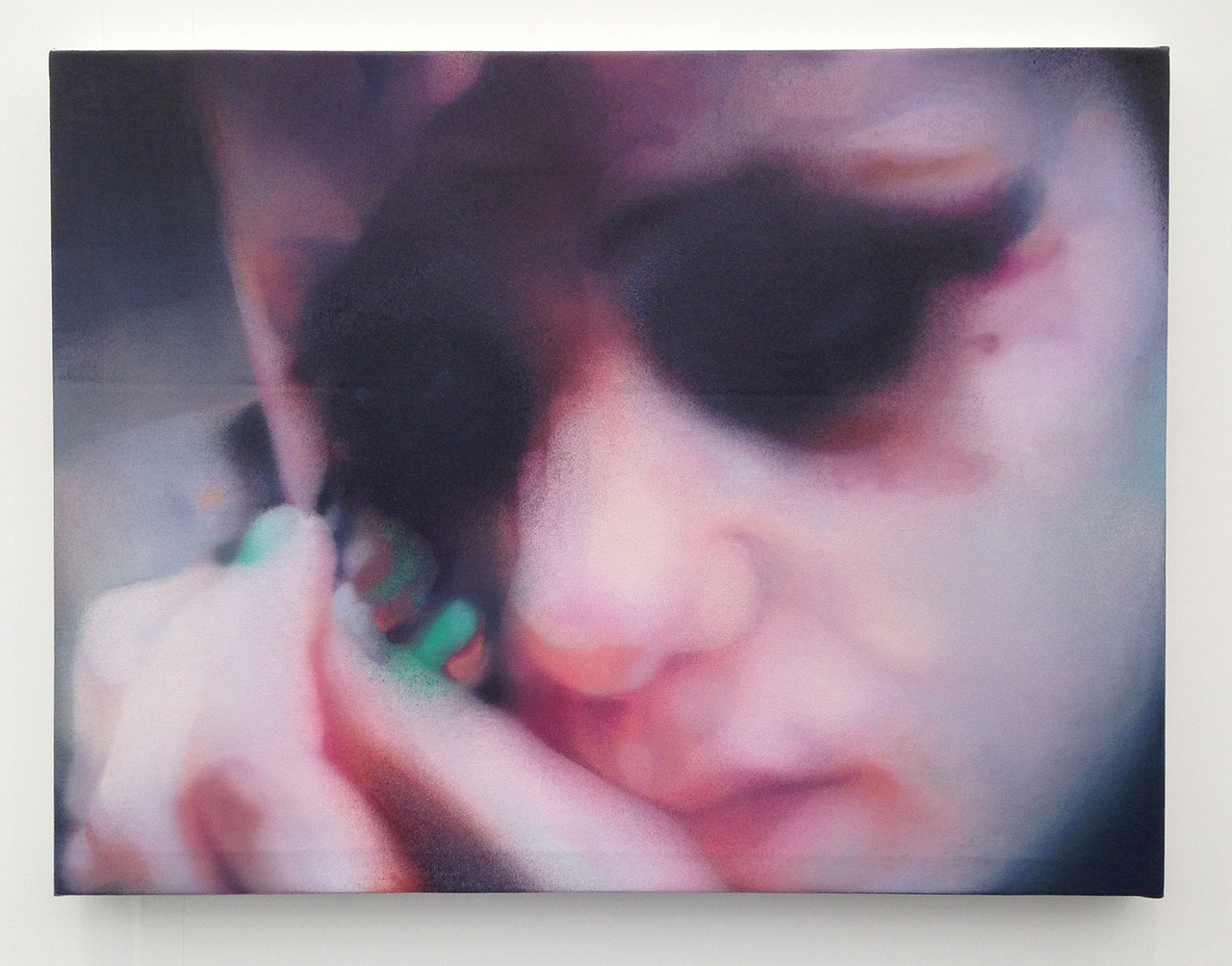 "Johannes Kahrs, ""OT (green fingernails)"" (2015), oil on canvas, 44.4 x 48.2 cm at Zeno X Gallery"