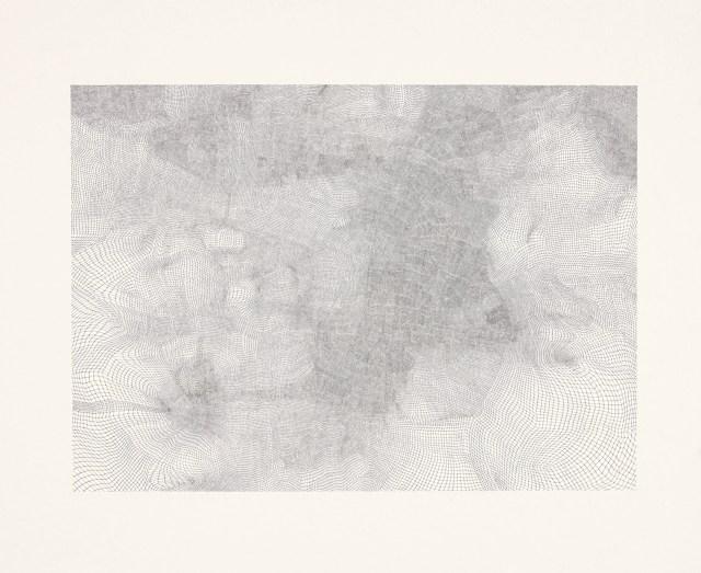 "Jacob El Hanani , ""Gauze"" (2008), ink on paper, 18 1/8 x 18 1/8 inches (all images courtesy Acquavella Galleries, Art © Jacob El Hanani)"