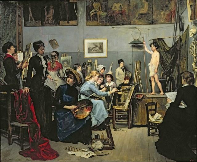 "Marie Bashkirtseff, ""In the Studio"" (1881) (Dnipropetrovsk State Art Museum, via Wikimedia Commons)"