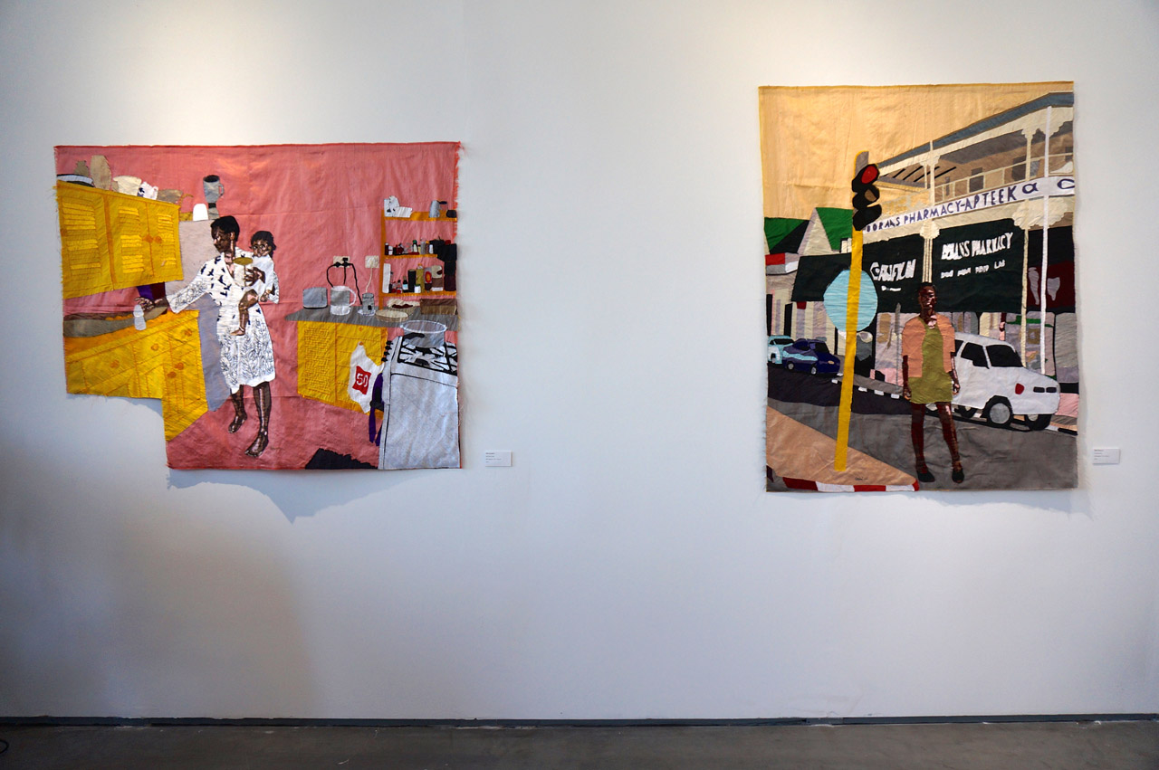 "Billie Zangewa, ""Ma vie en rose"" and ""Homecoming"" (both 2015), silk tapestries, at Afronova's booth (click to enlarge)"