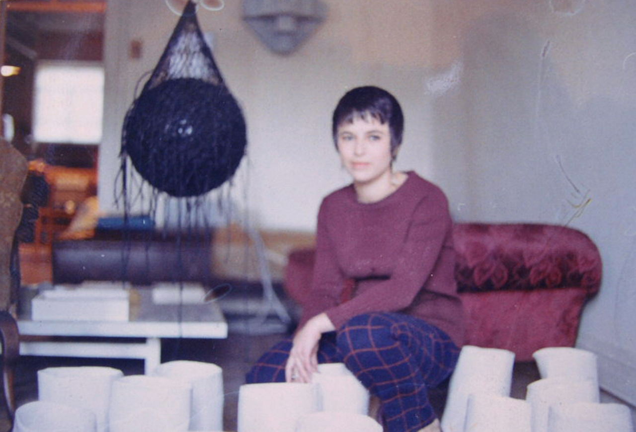 Eva Hesse in her Bowery studio ca. 1968 (photo courtesy of Allen Memorial Art Museum, Oberlin College)