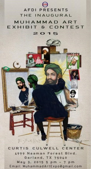 The poster for the Muhammad Art competition mimics Norman Rockwell's famous self-portrait. (via Breitbart)