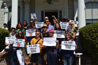 Mills College Adjunct Union and Mills Action Rally, September 2014, Oakland (photo by the author for Hyperallergic)