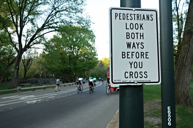 Pedestrian sign on the Central Park loop (photo by the author for Hyperallergic)
