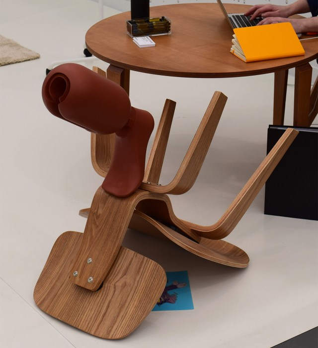 An untitled 2015 chair sculpture by Cécile B. Evans in Barbara Seiler's booth at Frieze New York