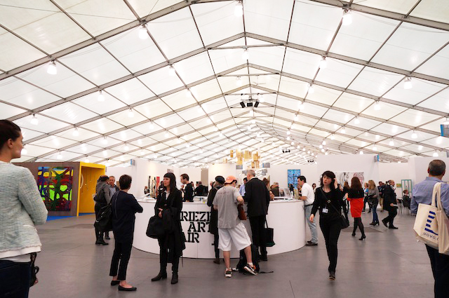 Inside the Frieze Tent at Frieze New York 2014 (photo by Jillian Steinhauer for Hyperallergic)