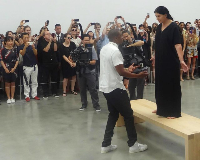"""Jay Z and Marina Abramović filming the """"Picasso Baby"""" music video at Pace in July 2013. (photo by the author for Hyperallergic)"""