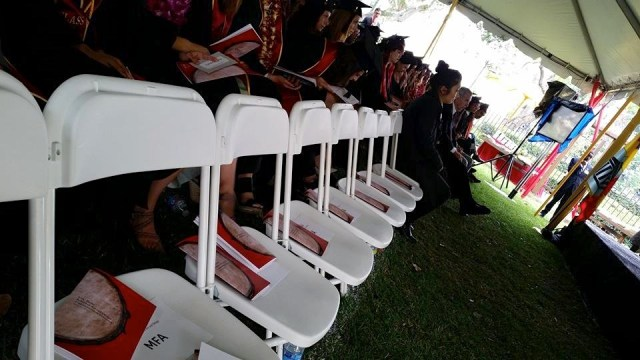 Seats left empty by USC MFA students boycotting graduation. (photo by Selene Preciado)