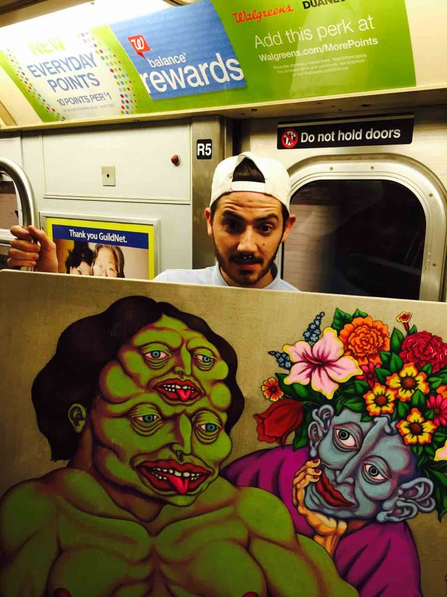 A student on Roosevelt Island with Don Pedro painting in a NYC subway car. (all photos provided by the artists)