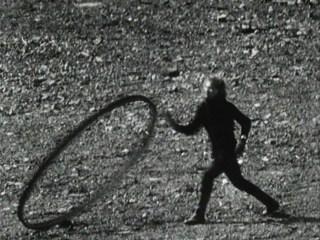 "Joan Jonas, still from ""Songdelay"" (1973), 18:35 min, b&w, sound, 16 mm film on video (click to enlarge)"