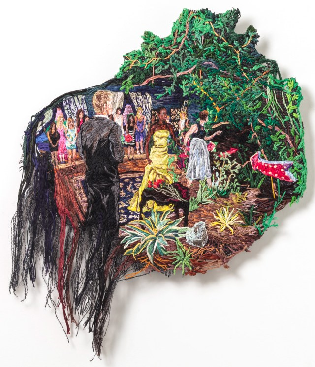 "Sophia Narrett, ""The Rose Ceremony"" (2014), embroidery thread and fabric, 19 x 16 in (image courtesy Arts+Leisure)"