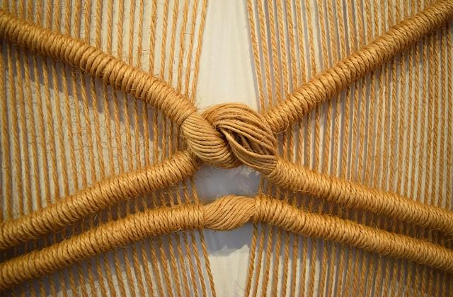 "Detail of Françoise Grossen, ""Swan"" (1967), undyed sisal, double half stitch"