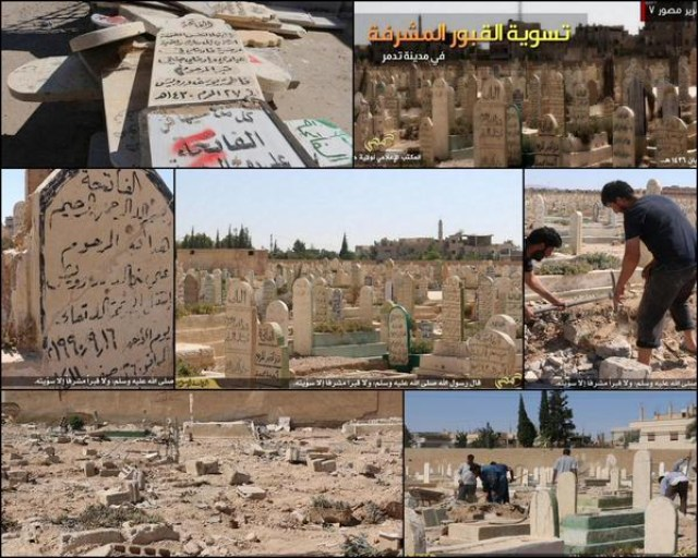 ISIS apparently destroying graves in Palmyra (Image via Twitter)