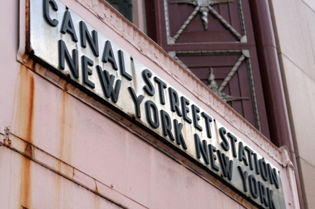 Canal Street Station metal sign in New York City