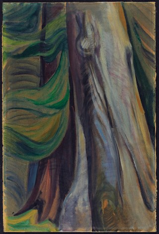 "Emily Carr, ""In the Forest, B.C."" (1935), oil on paper, mounted on multi-ply paperboard, overall: 45.8 x 30.2 cm (courtesy the Art Gallery of Ontario, bequest of Professor Kathleen Coburn, 2004)"