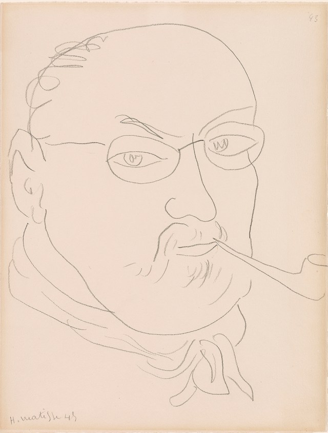 "Henri Matisse, ""Self-Portrait"" (1945). Graphite on paper. Thaw Collection, The Morgan Library & Museum. © 2015 Succession H. Matisse / Artists Rights Society (ARS), New York."