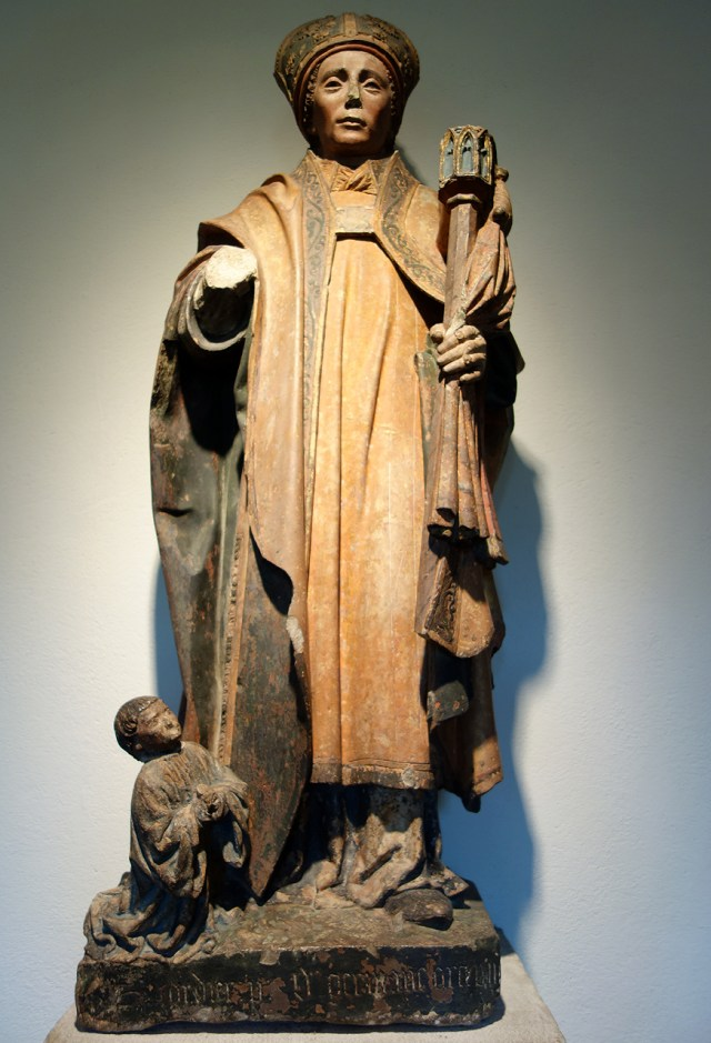 Saint Germain and a Donor (French, Burgundy, near Auxerre, late 15th century), limestone, paint, with the saint wearing two rings on his left hand
