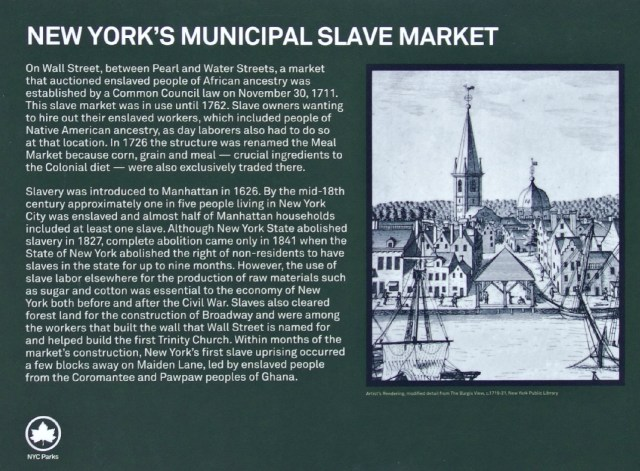 Detail of the plaque remembering the Wall Street Slave Market
