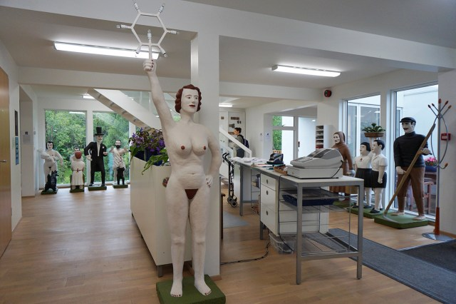 The museum's front desk, with sculptures by Bjarni Þórarinsson