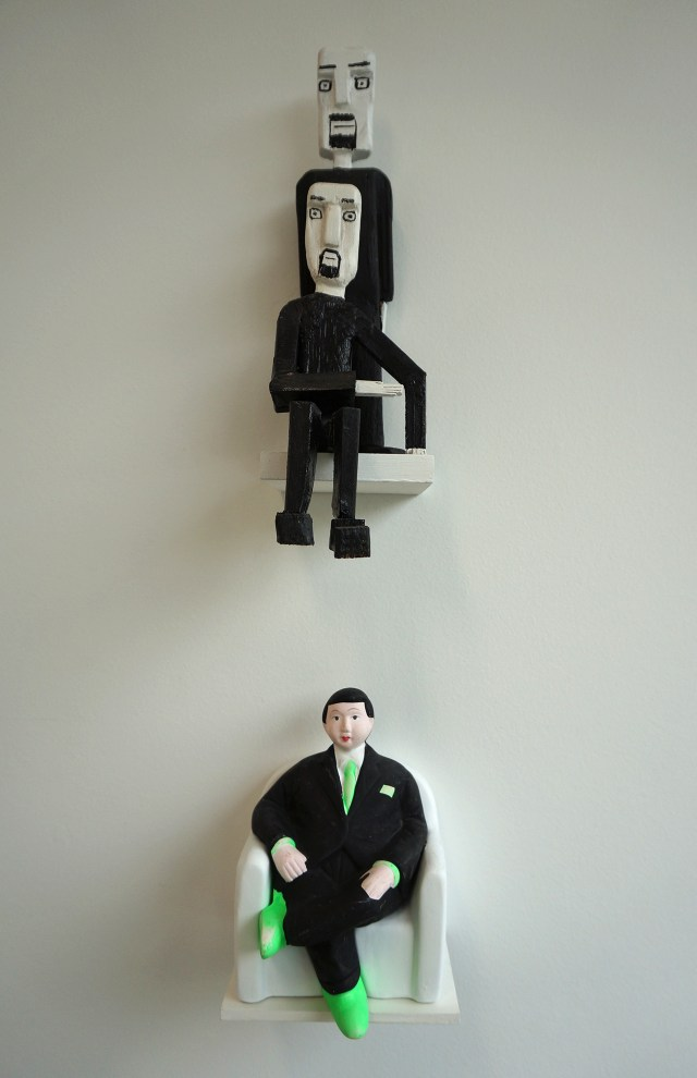 Above: a work by Haraldur Níelsson; below: the mass-produced, anonymously created kitsch figurine