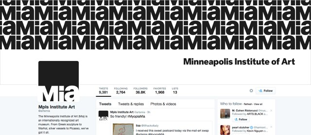 The Minneapolis Institute of Art's new logo spread across its Twitter page (screenshot via @artsmia/Twitter)