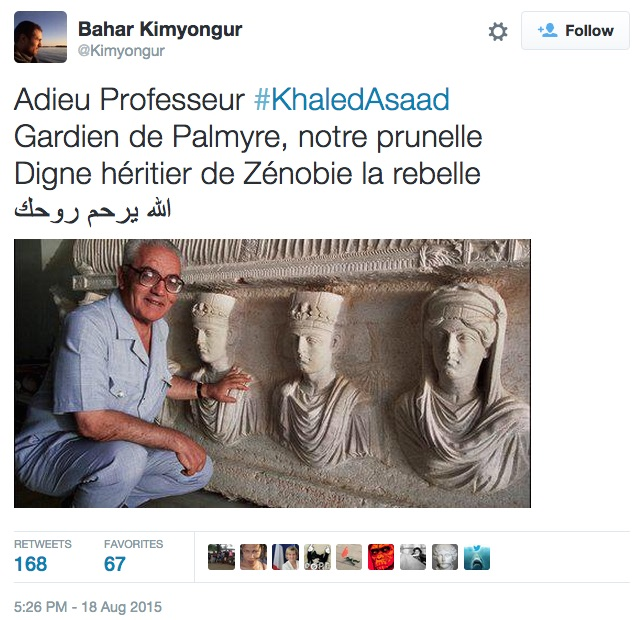 A tweet by humanitarian worker and archaeologist Bahar Kimyongur (screenshot by the author via @Kimyongur)