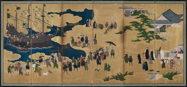 """""""Southern Barbarians Come to Trade,"""" attributed to Kano Naizen (Japanese, Edo period, about 1600), ink, color, gold, gold leaf on paper (courtesy Museum of Fine Arts, Boston)"""
