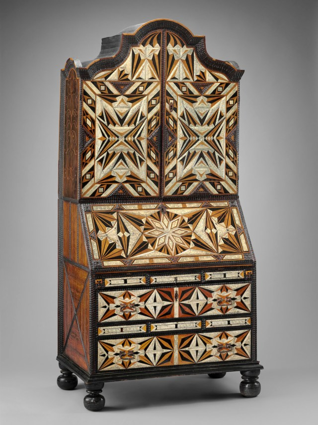 Desk and bookcase (mid-18th century), inlaid woods and incised and painted bone, maque, gold and polychrome paint, metal hardware (Ann and Gordon Getty Collection, courtesy, Museum of Fine Arts, Boston)