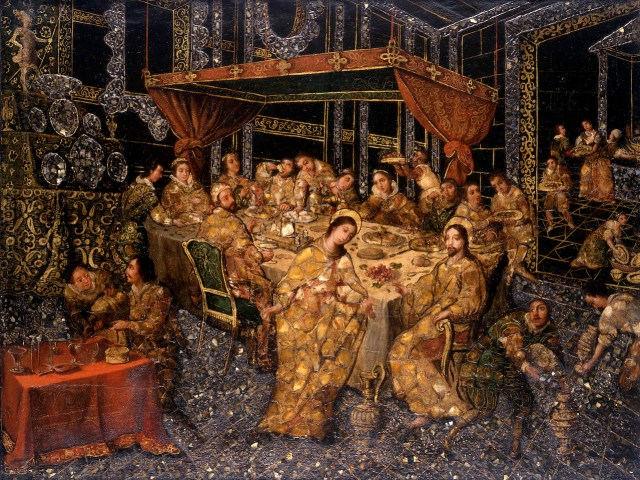 """Nicolás Correa, """"The Wedding at Cana"""" (1693), mixed media with encrusted mother-of-pearl on panel (on loan from the Hispanic Society of America in NYC, courtesy Museum of Fine Arts, Boston)"""