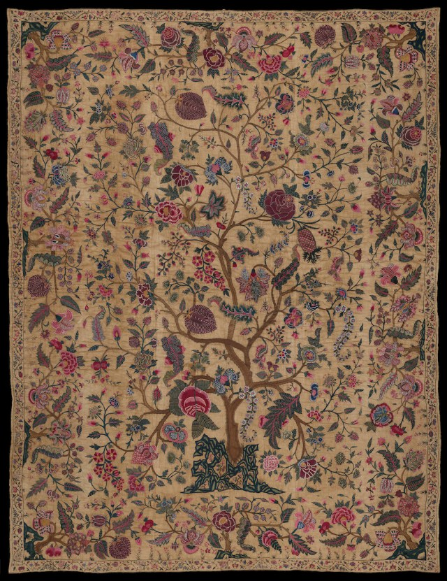 Bedspread (about 1700–50), cotton embroidered with silk (Gift of Mrs. Frank Clark, © Museum of Fine Arts, Boston)