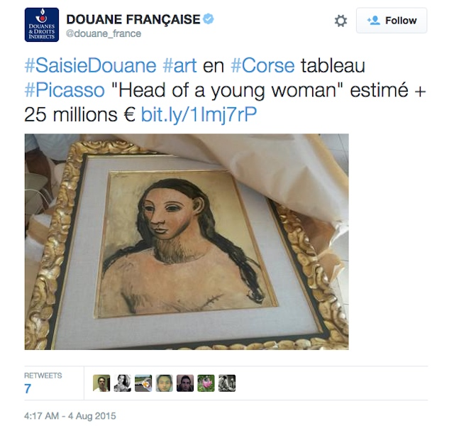 "A tweet by French Customs showing the Pablo Picasso painting seized from Jaime Botín's yacht, ""Head of a Young Woman."" (screenshot by the author)"