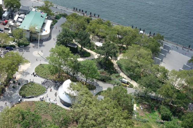 Aerial view of the SeaGlass Carousel in Battery Park