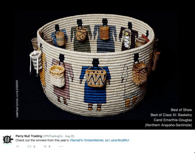 Carol Emarthle-Douglas's basket that won Best in Show at Indian Market 2015 (screenshot via Perry Null Trading/Twitter)