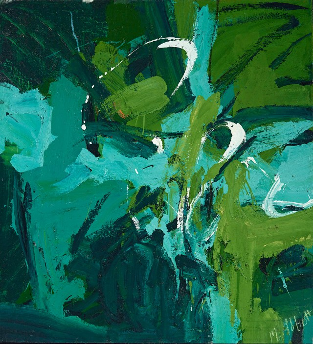 "Mary Abbott, ""All Green"" (c. 1954), oil paint on linen, 49 x 45 1/8 in, Denver Art Museum: Gift of Janis and Tom McCormick (image courtesy McCormick Gallery, Chicago, © Mary Abbott)"