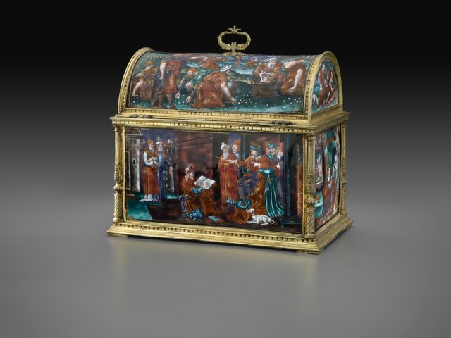 "Pierre Courteys, ""Casket: Old Testament Subjects"" (mid-16th century), enamel on copper, 8 5/16 × 9 13/16 × 6 1/4 inches (courtesy The Frick Collection, photo by Michael Bodycomb)"