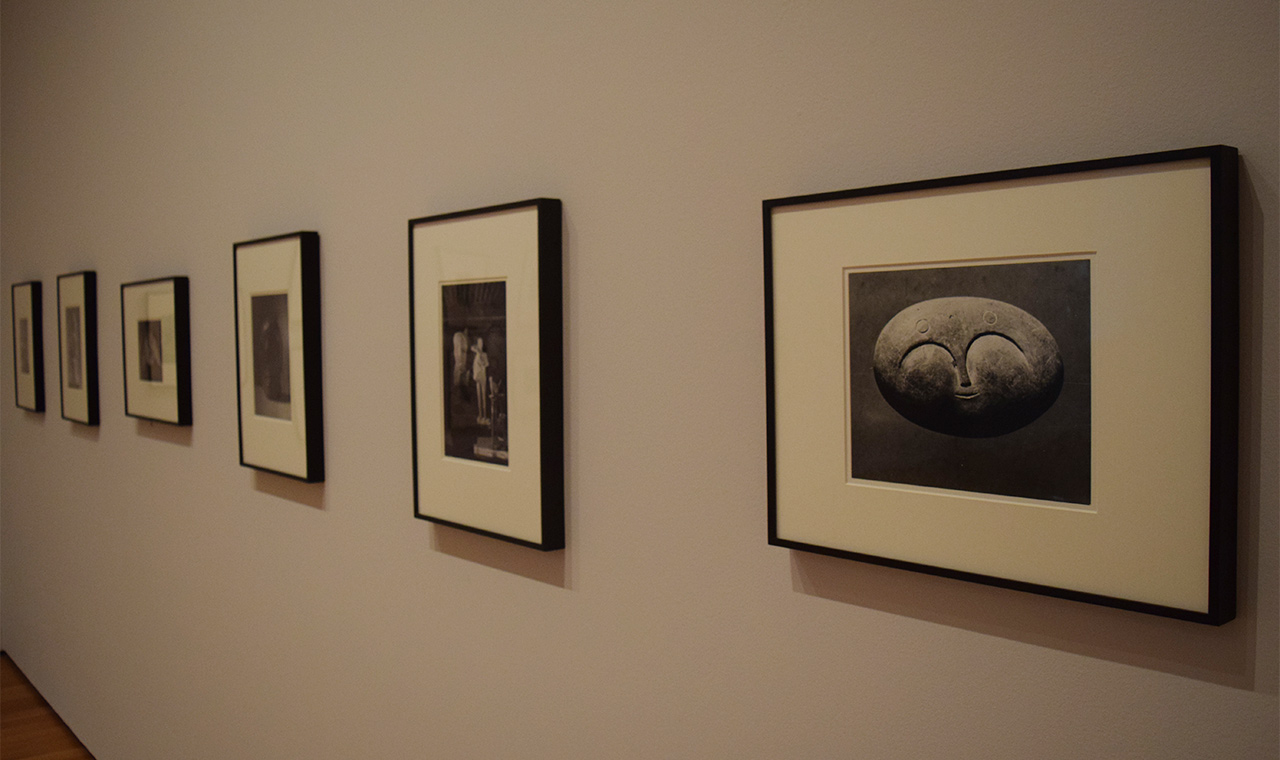 Installation view of photographs by Brassaï of Pablo Picasso's Paris studio in 1932 and 1943