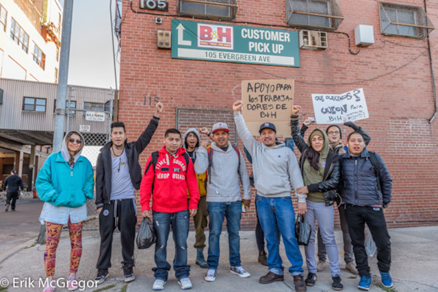 B&H warehouse workers, activists, and supporters outside the Bushwick warehouse facility this morning (photo by Erik McGregor)